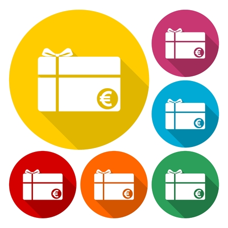 prepaid card: Shopping gift card icons set with long shadow