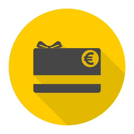 prepaid: Shopping gift card icon with long shadow
