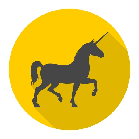 uncultivated: Silhouette of Unicorn Horse icon with long shadow Illustration
