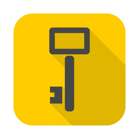 Key Vector icon with long shadow