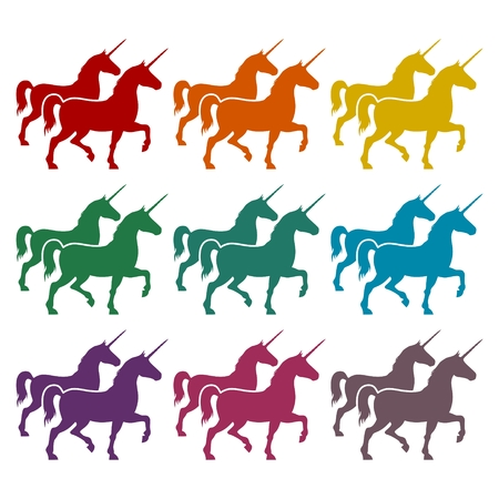 Silhouette of Unicorn Horse icons set