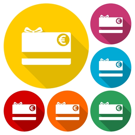 prepaid: Shopping gift card icons set with long shadow