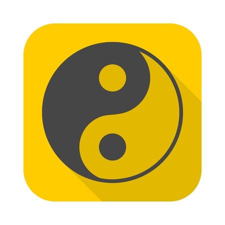 yin y yan: símbolo ying yang de la armonía y el icono de la balanza con una larga sombra