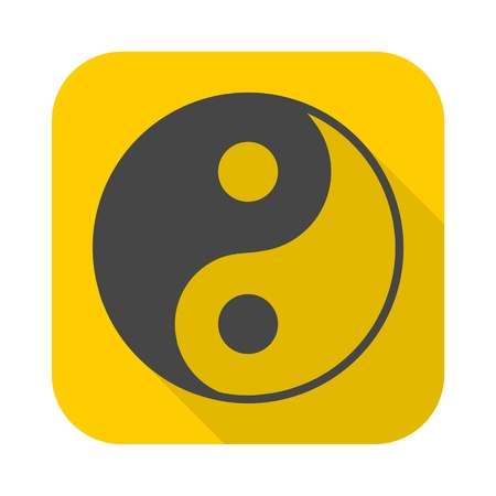 Ying yang symbol of harmony and balance icon with long shadow