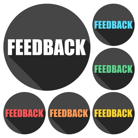 input output: Feedback icons set with long shadow Illustration