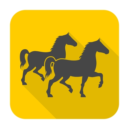 Two Horses silhouette icon with long shadow Illustration