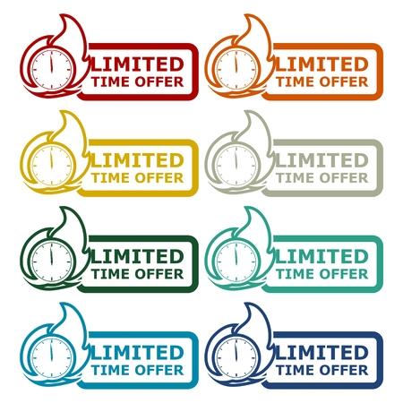 limited time: Limited Time Offer icons set Illustration