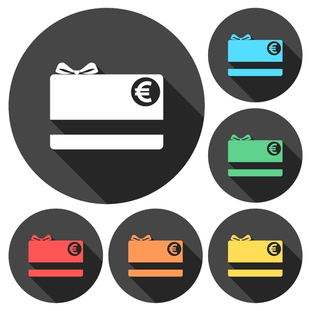 Shopping gift card icons set with long shadow