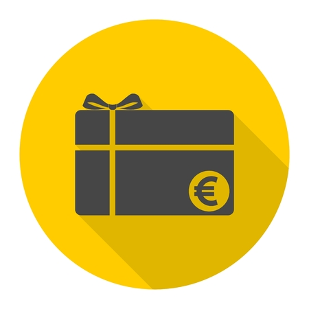 Shopping gift card icon with long shadow
