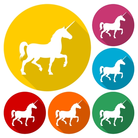 rebellious: Silhouette of Unicorn Horse icons set with long shadow