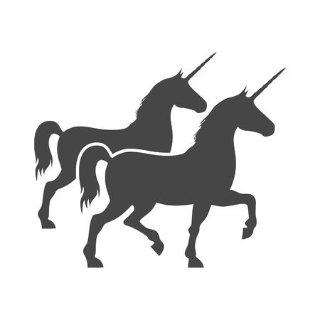 Silueta del icono de dos caballos del unicornio Vectores