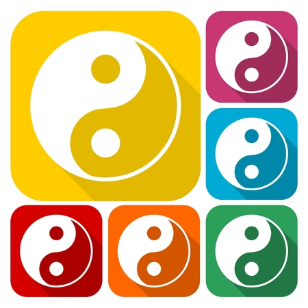 daoism: Ying yang symbol of harmony and balance icons set with long shadow