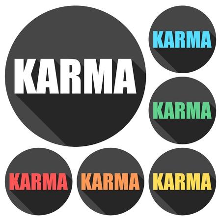 karma: Karma icons set with long shadow Illustration