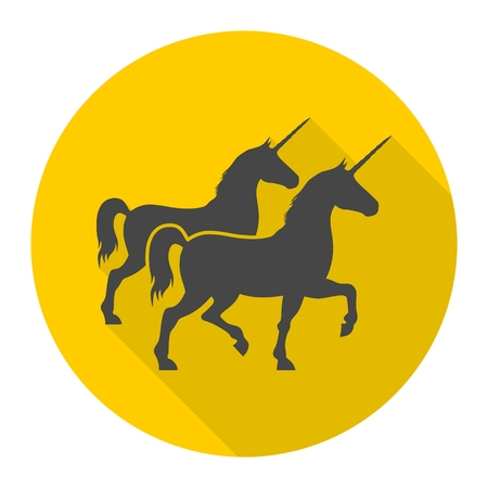 Silhouette of Two Unicorn Horse icon with long shadow Illustration