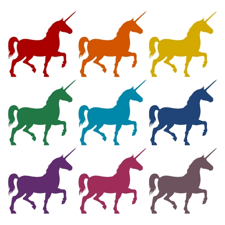 Silhouette of Two Unicorn Horse icons set Illustration