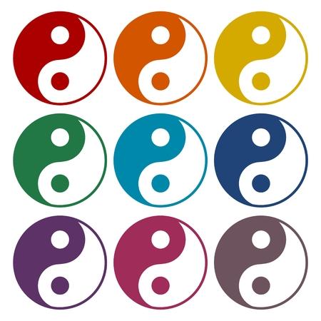 yin y yan: Ying yang símbolo de la armonía y el equilibrio iconos fijados
