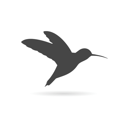 Small bird icon with long shadow Illustration
