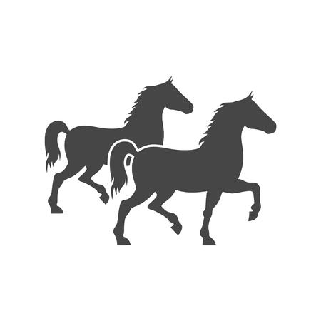 Dos caballos icono de la silueta Ilustración de vector