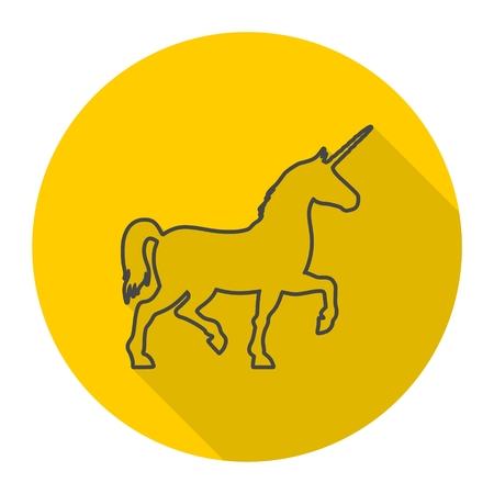 Silhouette of Unicorn Horse line icon with long shadow