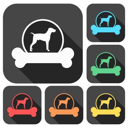 shepard: Dog design icons set with long shadow