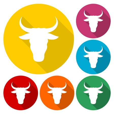 raging bull: Bull icons set with long shadow Illustration