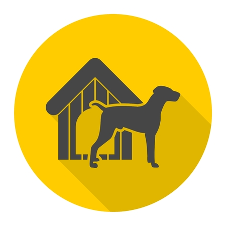 Dog design icon with long shadow Illustration