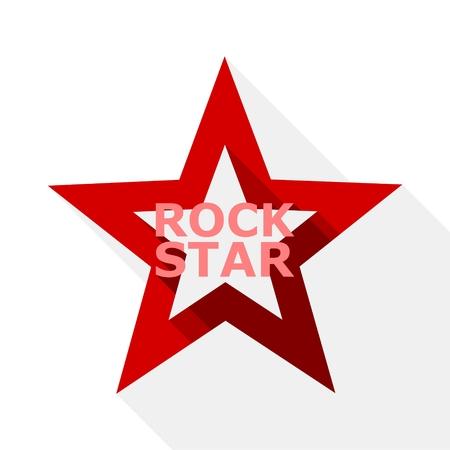 diseño de la estrella del rock, icono con una larga sombra