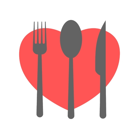 Fork and knife and spoon with heart shape Illustration