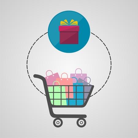 Ecommerce icon, Shopping design, shopping cart Illustration