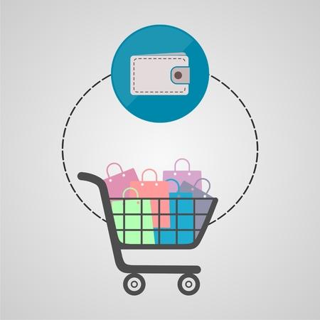 Ecommerce icon, Shopping design, monitor Illustration