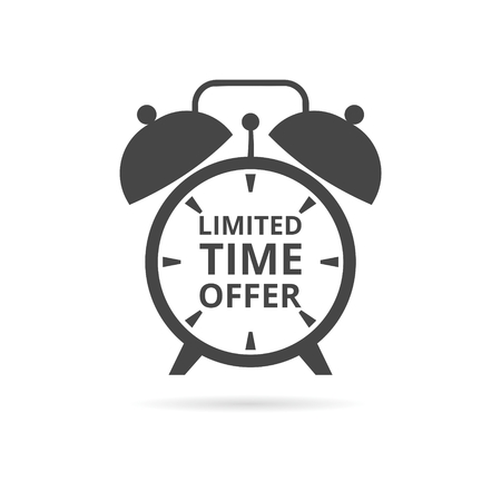 limited time: Limited time offer on alarm clock icon Illustration