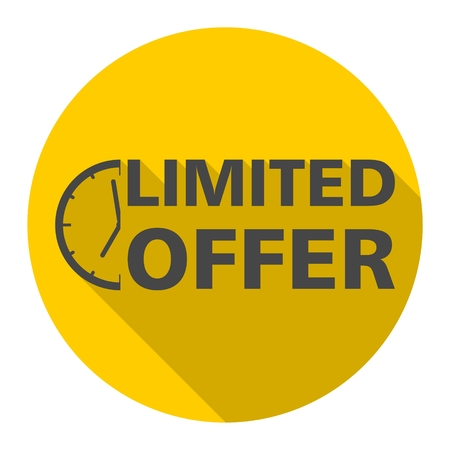 Limited Offer icon with long shadow Illustration