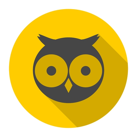 head wise: Owl icon with long shadow