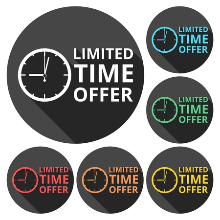 limited time: Limited time offer icons set with long shadow Illustration