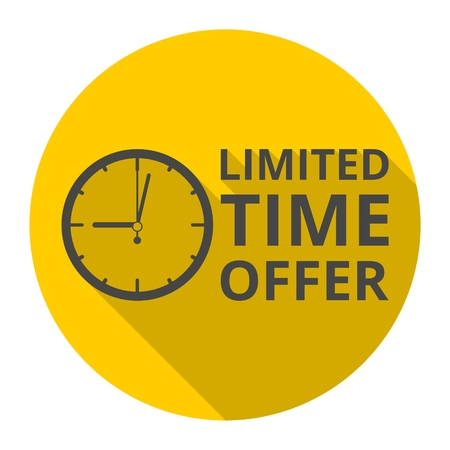 Limited time offer, hourglass symbol icon with long shadow