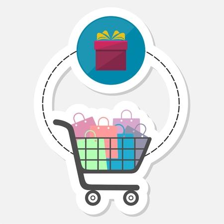 Ecommerce icon, Shopping design, Shopping basket, sticker
