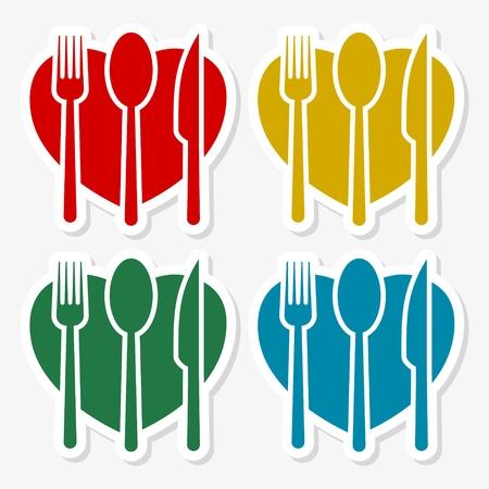 fork and spoon knife: Restaurant design, fork spoon knife sticker set Illustration