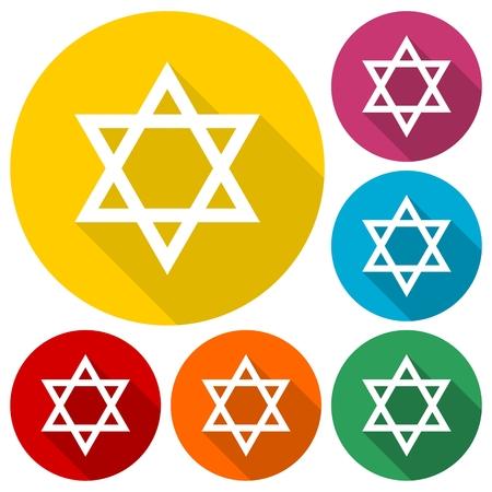 chanukkah: Star of David icons set with long shadow