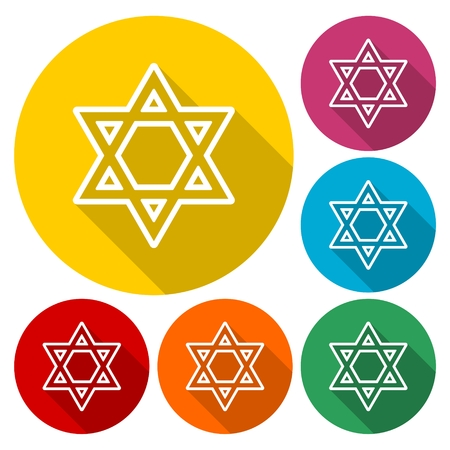 hannukah: Star of David icons set with long shadow