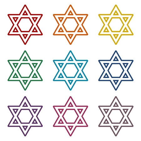 Star of David icons set Illustration