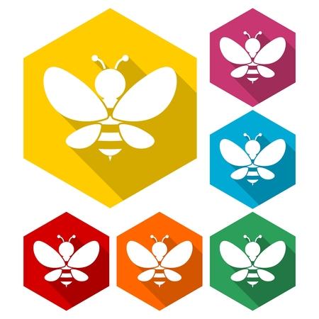 dangerous ideas: Bee sign icons set