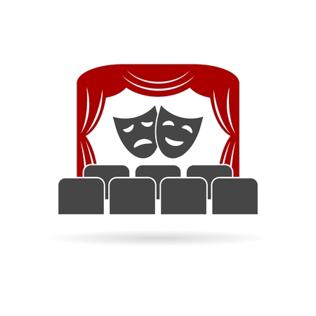 Theater, Theater icon, Theater stage with curtain and seats vector illustration set with long shadow Illustration
