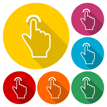 hand touch: Touch icon, click, hand icons set with long shadow Illustration