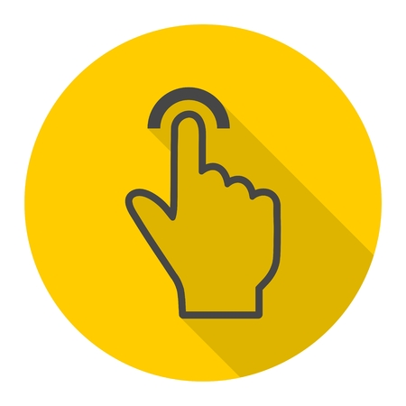 click with hand: Touch icon, click, hand icon with long shadow