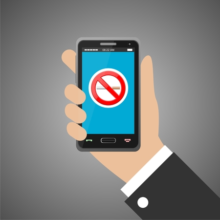 cell phone addiction: Hand holding smartphone with no smoking sign Illustration