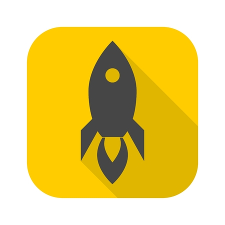 Rocket icon with long shadow Illustration