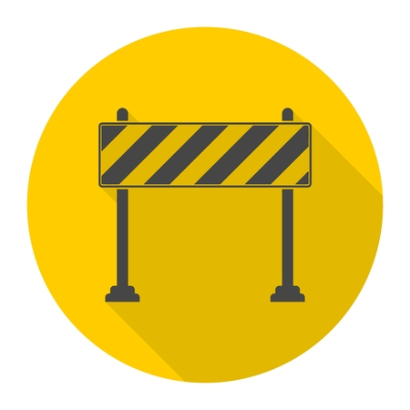 Barrier icon, Roadblocks icon with long shadow