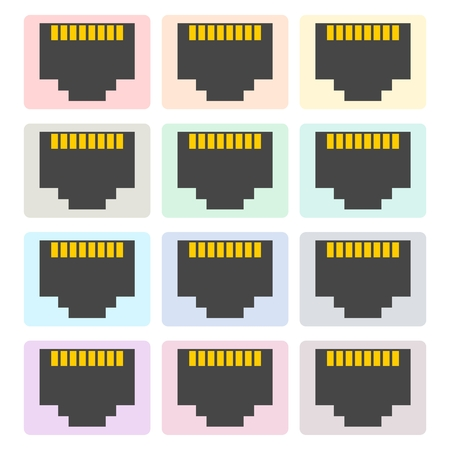 Vector network socket icons set