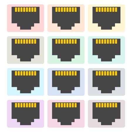 tcp ip: Vector network socket icons set