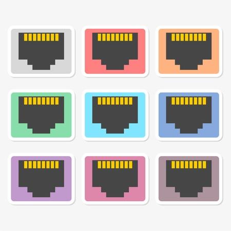 tcp ip: Vector network socket sticker set Illustration